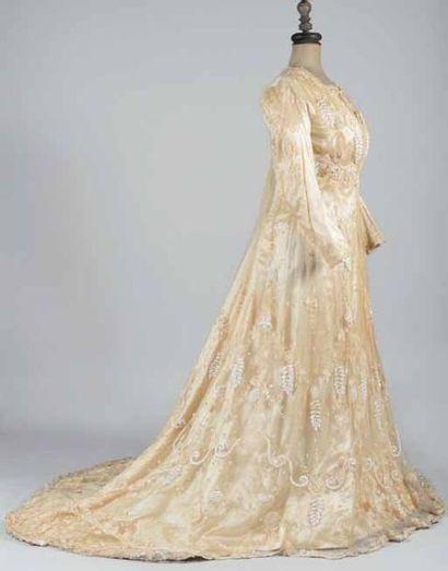 Tea-gown à ligne Princesse vers 1900. Robe...