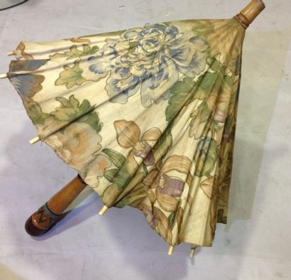 Ombrelle japonaise en coton imprimée vers...