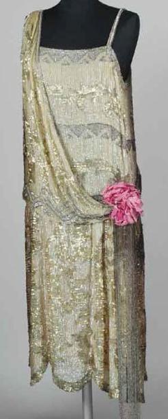 Robe du soir perlée, brodée par Lesage vers...