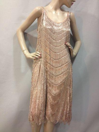 Robe «Charleston» perlée, vers 1925. Mousseline...