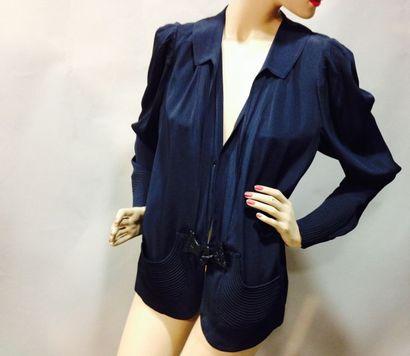 Veste de tailleur en crêpe de soie bleu,...