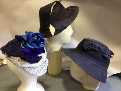Trois chapeaux, vers 1935-1943. Calotte en...
