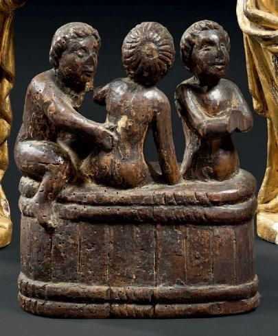 «Les trois enfants sortant du saloir» en bois sculpté en ronde-bosse. Ils devaient...