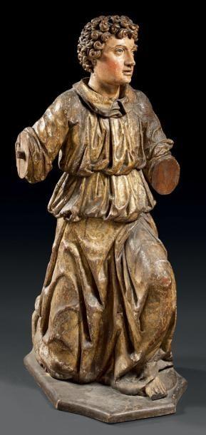 Grande sculpture en bois sculpté en ronde-bosse,...