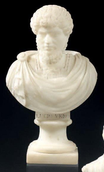 Buste figurant Lucius en albâtre sculpté....