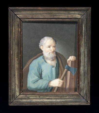 Miniature sur vélin représentant Saint Joseph...