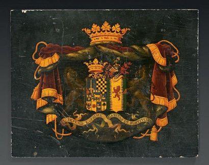 Petit panneau peint d'armoiries du Marquis...