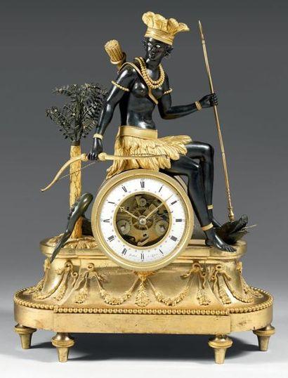 Pendule symbolisant « l'AMERIQUE » en bronze...