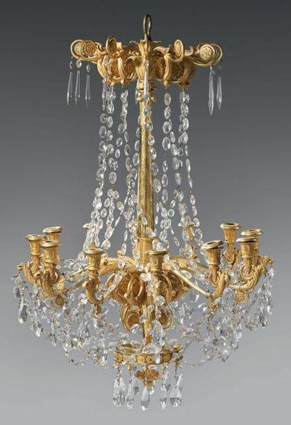 Important et rare lustre à douze lumières...