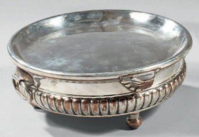 Chauffe-plat en métal argenté à panse godronné...