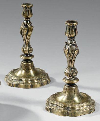 Paire de flambeaux Louis XV en bronze doré...