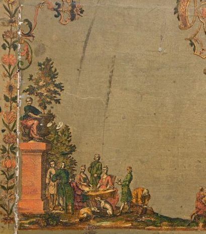 Rare commode à décor en arte-povera représentant des scènes de chasse ou galante...