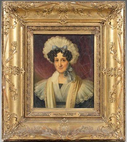 Johann ENDER (Vienne 1793 - 1854) Portrait de femme Panneau. Signé et daté en bas...