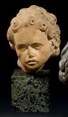 Tête d'homme en marbre sculpté en ronde-bosse...