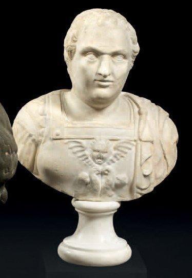 Buste en marbre de l'Empereur Vespasien (?)....