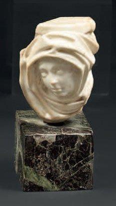 Petite tête d'homme enturbannée en marbre...