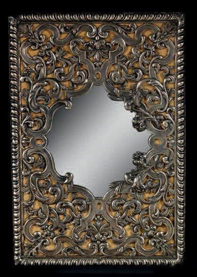 Miroir décoratif en bronze argenté sculpté...