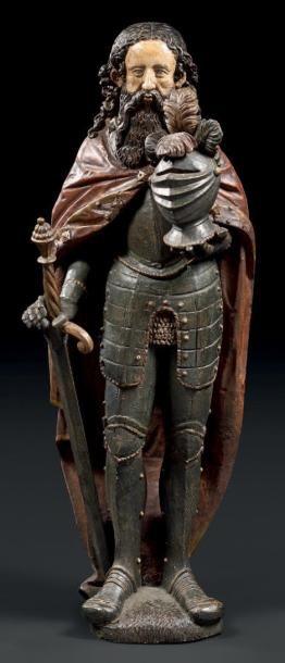 Chevalier en armure en bois sculpté polychrome....
