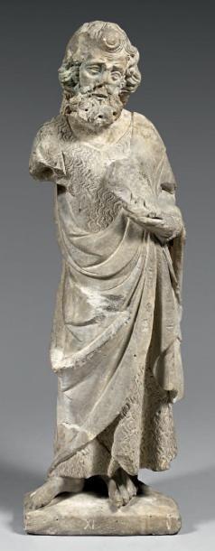 Important Saint Jean Baptiste en pierre sculpté...