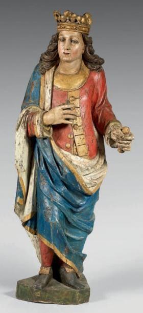 Grand personnage en chêne sculpté polychrome...