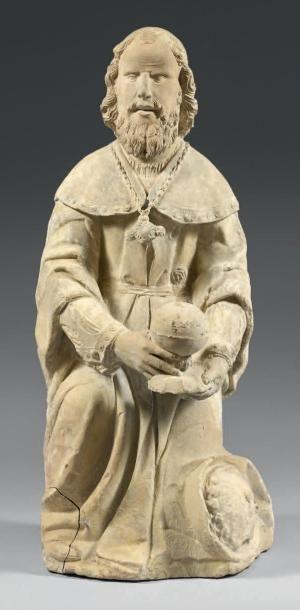 Roi Mage Melchior en pierre calcaire sculptée....