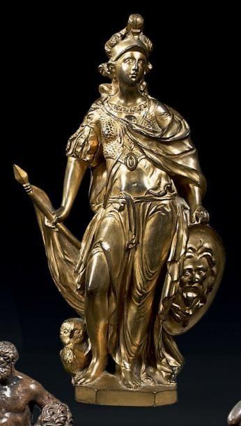 Minerve en bronze doré, vêtue à la romaine,...