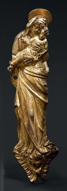 Vierge à l'Enfant: applique en bronze doré....