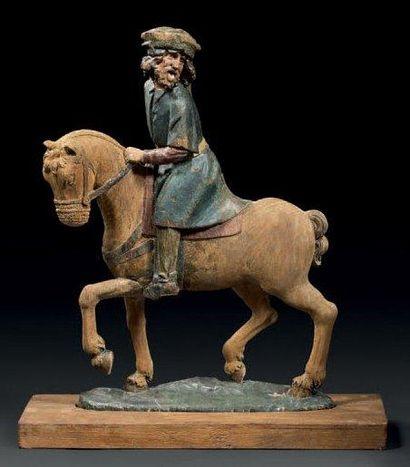 Rare et intéressante sculpture en bois sculpté...