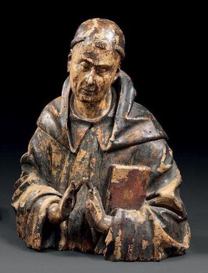 Bois sculpté polychrome, représentant un...