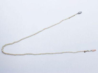 Collier composé d'une chute de 150 perles...