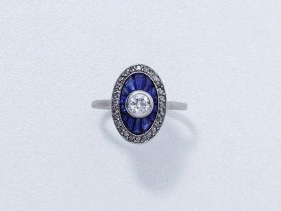 Bague or gris 18 K, ornée d'un diamant brillanté...