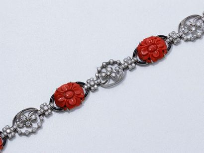 Délicat bracelet articulé en or gris 18 K,...