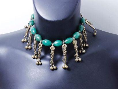 Collier de chien en argent, composé de perles...
