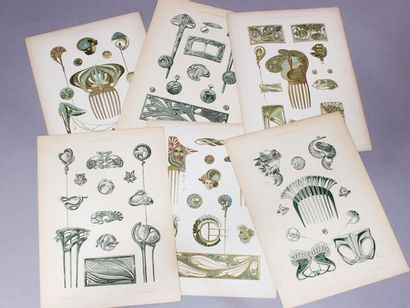 Carton contenant 24 planches de dessins de...