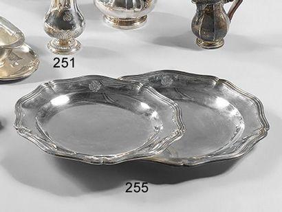 Série de 2 plats ronds et un plat ovale en...