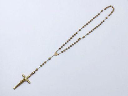 Lot en or 18 K comprenant un chapelet composé de perles filigranées retenant une...