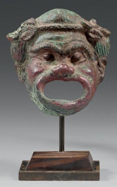 Masque de théâtre comique lauré. Bronze à...