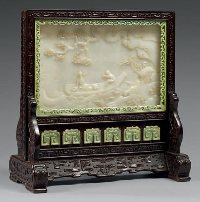 CHINE Ecran de lettré en bois (zitan?) sculp-té de forme rectangulaire, reposant...