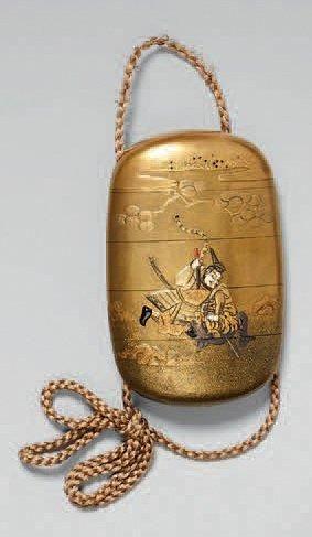 JAPON Inro à quatre cases en laque fundame décoré en hira maki-e de laque or et argent...