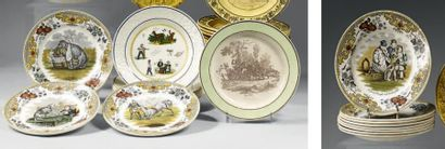 CREIL et CHOISY Dix-sept assiettes en faïence fine à décor imprimé en polychromie...