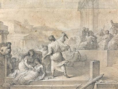 Louis LAFITTE (Paris 1770 - 1828). La mort de César. Pierre noire et rehauts de blanc,...