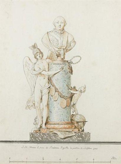 Jean Michel MOREAU dit LE JEUNE (Paris 1741-1814) PROJET DE MONUMENT Plume et encre...
