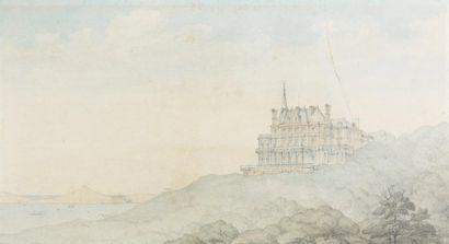 Ecole MARSEILLAISE du XIXème siècle Le château Talabot sur la corniche et la rade...
