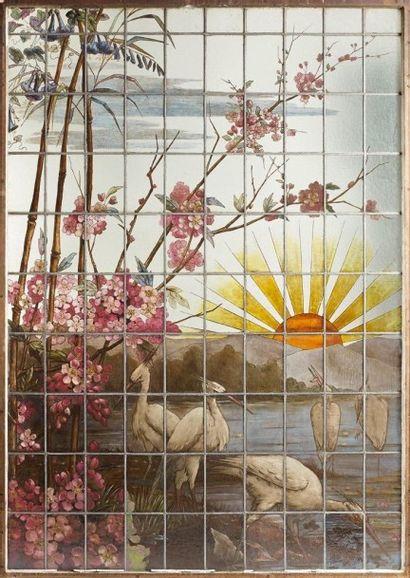 Grande verrière en vitrail polychrome, grisaille, jaune d'argent et émaux. «Scène...