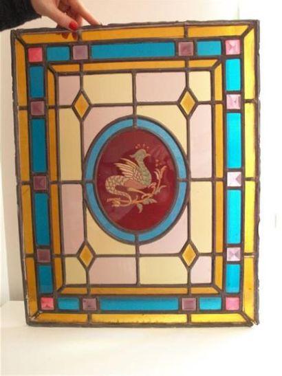 Vitrail polychrome sur verre cathédrale,...
