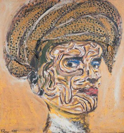 Tête africaine, 1995 Technique mixte et collage,...