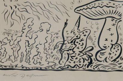 André Masson (1896 - 1987) Les trois hommes de beurre Dessin à l'encre au pinceau,...