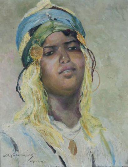 William Adolphe LAMBRECHT (1876 - 1940) Portrait d'algérienne, 1912 Huile sur toile,...