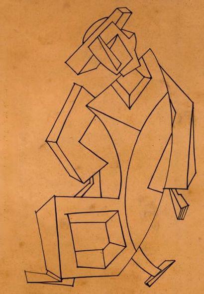 Homme géométrique Encre sur papier 26 x 18...
