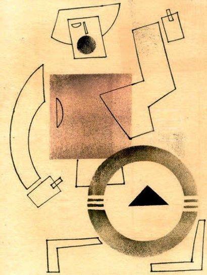 Homme géométrique Pochoir, encre, gouache...